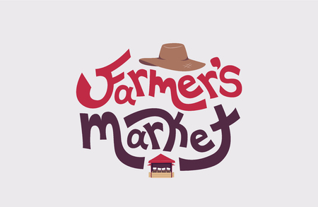 Typography Illustration Featuring the Words Farmers Market Decorated with a Straw Hat on Top and a Market Stall at the Bottom