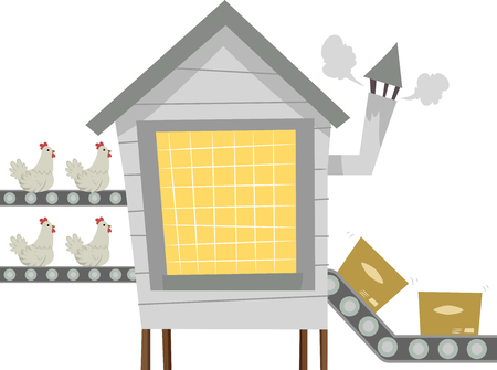 transported: Illustration Featuring a Factory with Chickens Being Transported Via a Conveyor Belt Stock Photo
