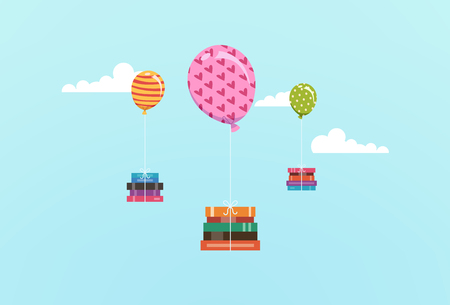 storybook: Illustration Featuring Stacks of Books Tied to Colorful Balloons Floating in the Sky