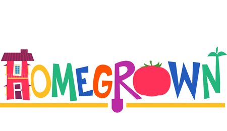 Typography Illustration Featuring the Word Homegrown Decorated with a Farm House and a Tomato Stock Photo