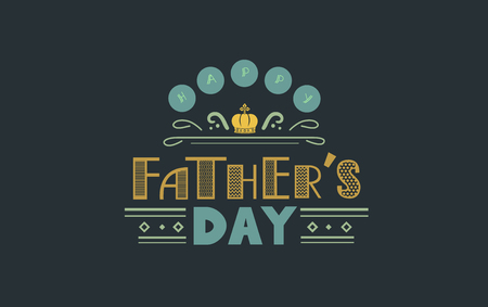diamond letters: Typography Illustration Featuring the Words Fathers Day Printed Against a Charleston Green Background