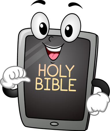 Mascot Illustration Featuring a Computer Tablet with the Words Holy Bible Written on Its Homepage