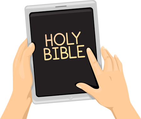 Cropped Illustration Featuring a Man Holding a Computer Tablet with the Words Holy Bible Written on Its Homepage