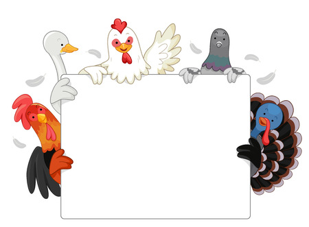 Illustration Featuring Common Poultry Animals Holding a Blank White Board Together