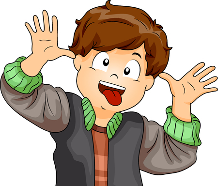 Illustration Featuring a Little Boy Making Funny Faces with His Eyes, Tongue, and Hands Stock Photo