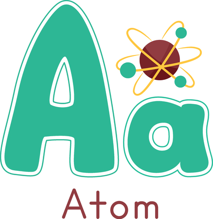 Typography Illustration Featuring a Lower and Upper Case Letter A Decorated with an Atomic Model Stock Photo