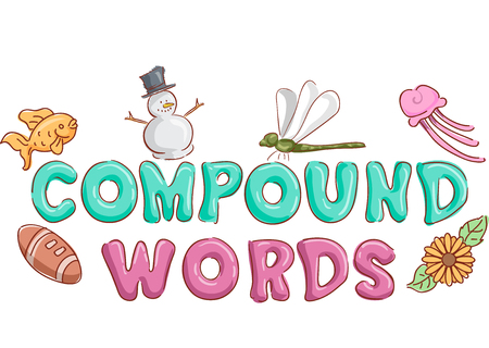 school of fish: Typography Illustration Featuring the Phrase Compound Words Decorated with Common Examples of Them Stock Photo