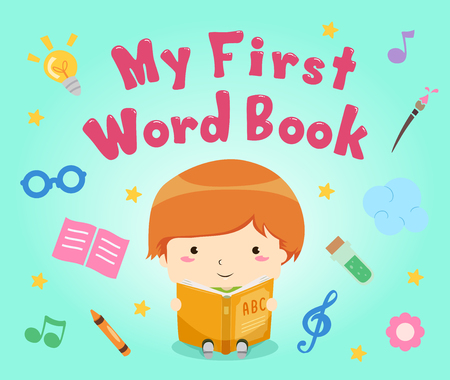 Colorful Illustration Featuring a Little Boy Reading His First Word Book