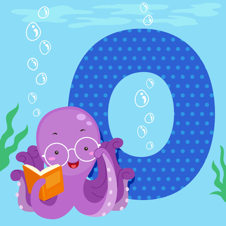 bookworm: Alphabet Illustration Featuring an Octopus Reading a Book Sitting Beside a Tile of the Letter O Stock Photo