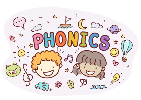 Typography Illustration Featuring Stickman Kids Standing Around the Word Phonics