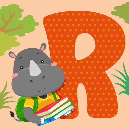 R: Alphabet Illustration Featuring a Rhinoceros Reading a Book Sitting Beside a Tile of the Letter R Stock Photo