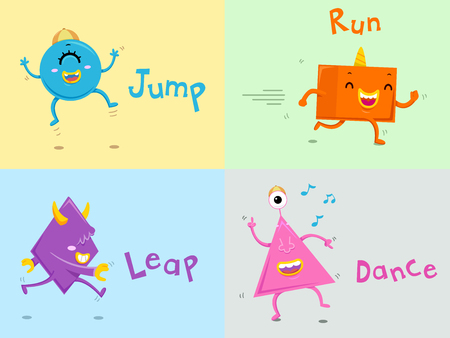 Illustration Featuring Cute Colorful Monsters Demonstrating Action Words Stock Photo