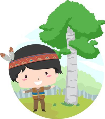 자작 나무 나무 옆에 서있는 아메리카 원주민처럼 옷을 입고 작은 소년을 갖춘 그림 스톡 콘텐츠