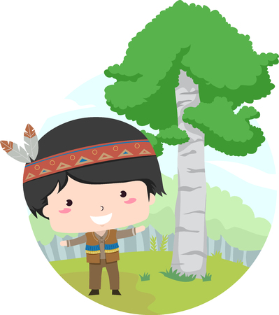 Illustration Featuring a Little Boy Dressed Like a Native American Standing Beside a Birch Tree