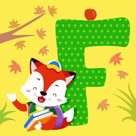 Alphabet Illustration Featuring a Fox Carrying a Stack of Books Standing Beside a Tile of the Letter F