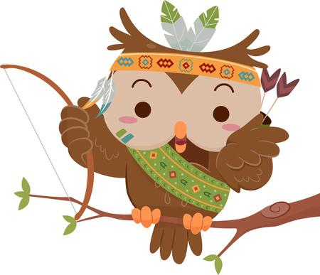 Mascot Illustration Featuring a Cute Little Owl Dressed Like a Native American Stock Photo