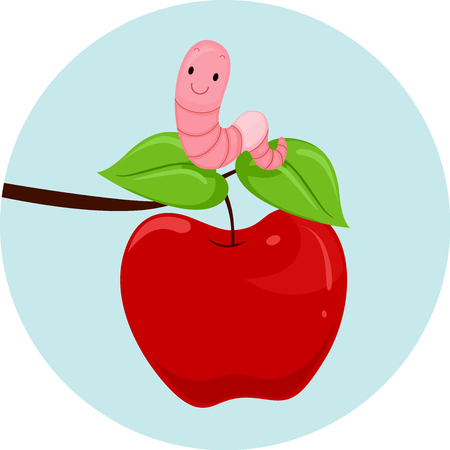 esl: Illustration Featuring an Earthworm and an Apple Demonstrating When to Use the Preposition Over