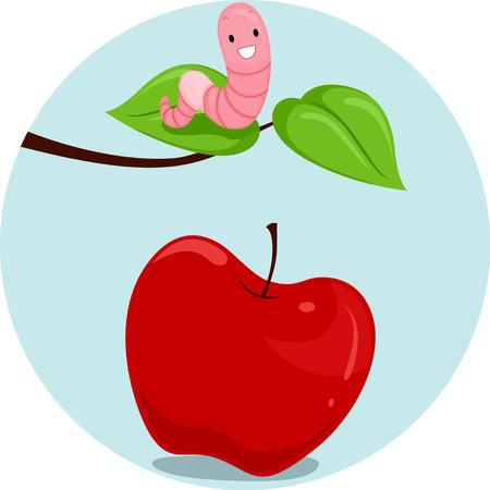 Illustration comportant une vers de terre et une pomme Démontrer la signification de la parole ci-dessus Banque d'images - 78539487