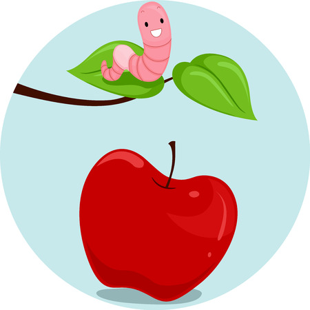 Illustration Featuring an Earthworm and an Apple Demonstrating the Meaning of the Word Above Stock Photo