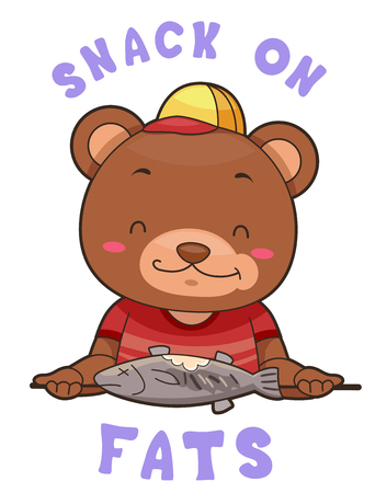 anthropomorphism: Mascot Illustration Featuring a Brown Bear Holding Grilled Fish  Encouraging People to Snack on Fats