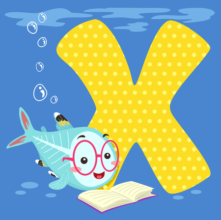 Alphabet Illustration Featuring an X-ray Fish Reading a Book Sitting Beside a Tile of the Letter X