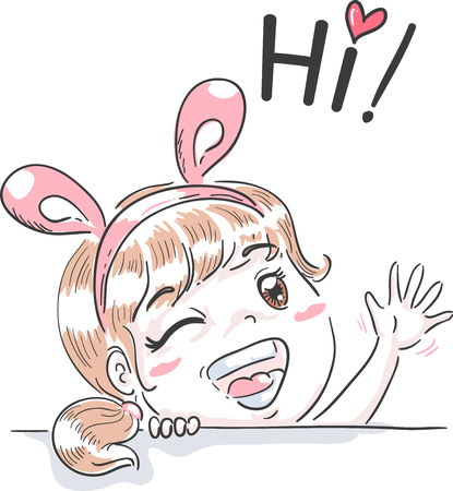 esl: Typography Illustration Featuring a Cute Little Girl in a Bunny Headband Waving and Saying Hi
