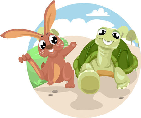 Storybook Illustration Featuring the Classic Fable of The Tortoise And The Hare