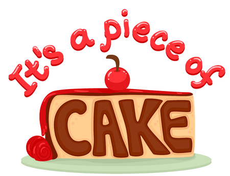 esl: Typography Illustration Featuring a Slice of Cake with the Idiom Piece of Cake