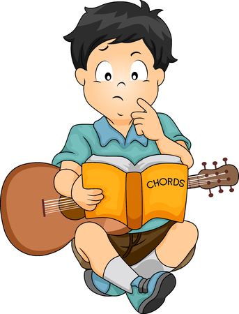 kiddie: Illustration Featuring a Confused Boy with a Guitar on His Lap Trying to Figure Out How to Play the Chords of a Song