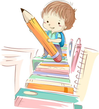kiddie: Colorful Illustration of a Cute Preschool Boy in a Backpack Holding a Giant Pencil While Following a Trail of Books Stock Photo