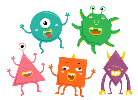 creature: Mascot Illustration Featuring Cute Little Monsters Representing the Basic Geometric Shapes