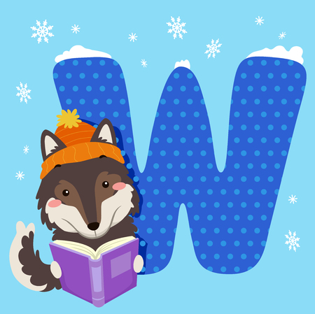 storybook: Alphabet Illustration Featuring a Wolf Reading a Book Sitting Beside a Tile of the Letter W
