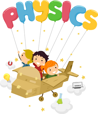 Typography Illustration Featuring Stickman Kids Riding a Cardboard Plane Being Carried by Balloons That Spell the Word Physics