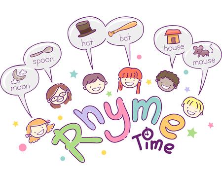 Stickman Illustratie Met Schoolkinderen Voorbeelden van Woorden die Rhyme geven
