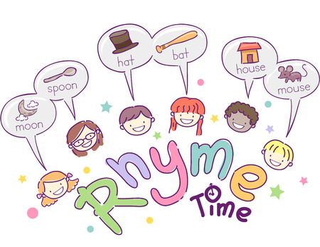 Stickman Illustration Featuring School Kids Giving Examples of Words That Rhyme