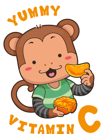 Mascot Illustration Featuring a Cute Little Monkey Getting His Vitamin C from a Fresh Orange