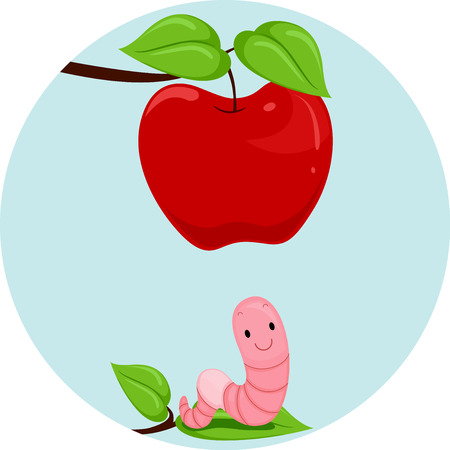 esl: Illustration Featuring an Earthworm and an Apple Demonstrating the Meaning of the Word Below Stock Photo