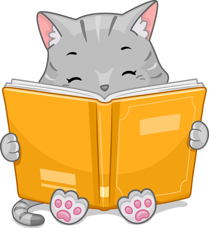 storybook: Mascot Illustration Featuring a Cute Little Cat Happily Reading a Storybook
