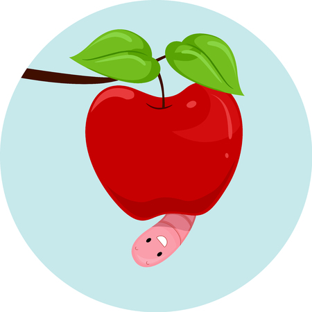 Illustration Featuring an Earthworm and an Apple Demonstrating When to Use the Preposition Under