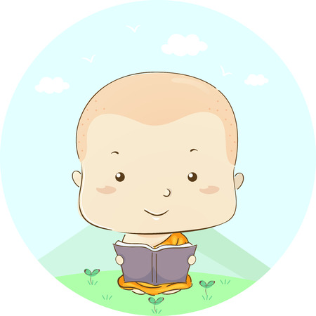 Illustration Featuring a Little Boy Dressed as a Monk Reading a Book Outdoors