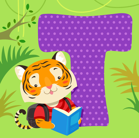 Alphabet Illustration Featuring a Tiger Reading a Book Sitting Beside a Tile of the Letter T