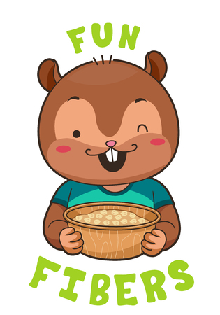 Mascot Illustration Featuring a Cute Little Chipmunk Winking While Holding a Bowl of Chickpeas Stock Photo