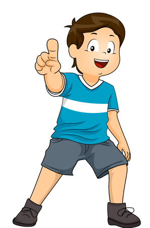 Illustration Featuring an Excited Little Boy Pointing His Index to an Imaginary Object Stock Photo