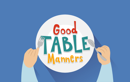 Typography Illustration Featuring the Words Good Table Manners Written on a Plate