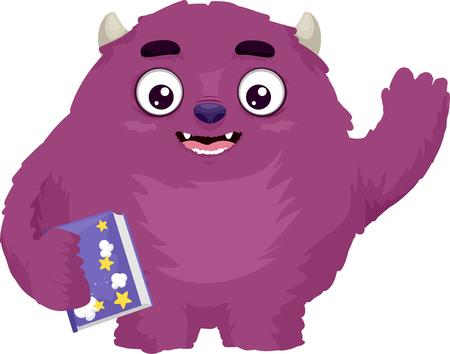 plushie: Illustration Featuring a Cute and Colorful Monster Waving While Holding a Storybook Stock Photo