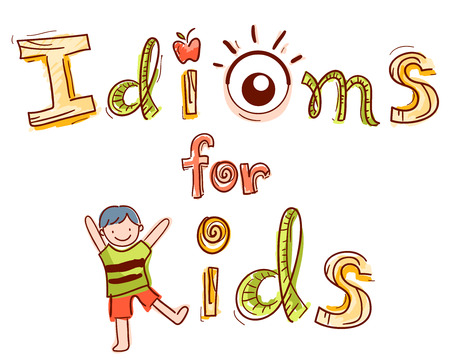 esl: Typography Illustration Featuring the Phrase Idioms for Kids Decorated with an Apple, an Eye, and a Kid
