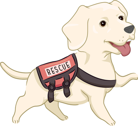Mascot Illustration Featuring a Cute Labrador Retriever Wearing a Rescue Vest Stock Photo