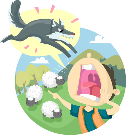 Storybook Illustration Featuring the Classic Fable of The Boy Who Cried Wolf 版權商用圖片 - 78539433