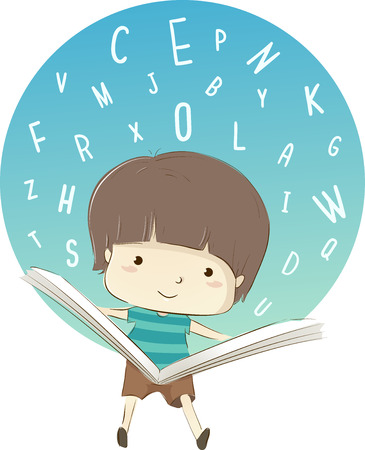 kiddie: Whimsical Illustration Featuring a Cute Little Boy Reading a Book Surrounded by Random Letters Stock Photo