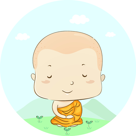 Illustration Featuring a Little Boy Dressed as a Monk Meditating in the Lotus Position